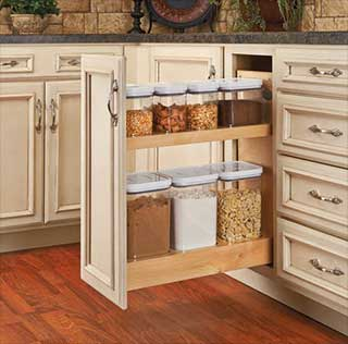 How to clean kitchen cabinets and install new kitchen pullouts, including this pull out pantry.