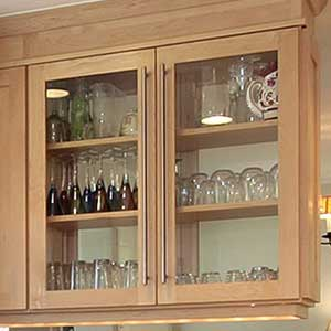 Add glass to your kitchen cabinet doors