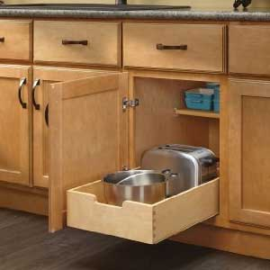 Add roll out shelves to your kitchen cabinets